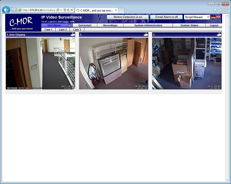 Click to view C-MOR IP Video Surveillance VM Software 3.7141 screenshot