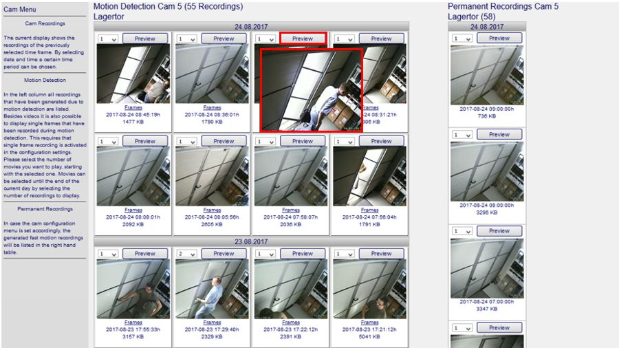 C MOR video surveillance preview