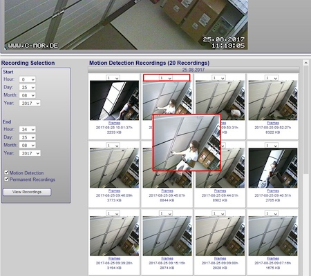 video surveillance snapshot motion preview 450