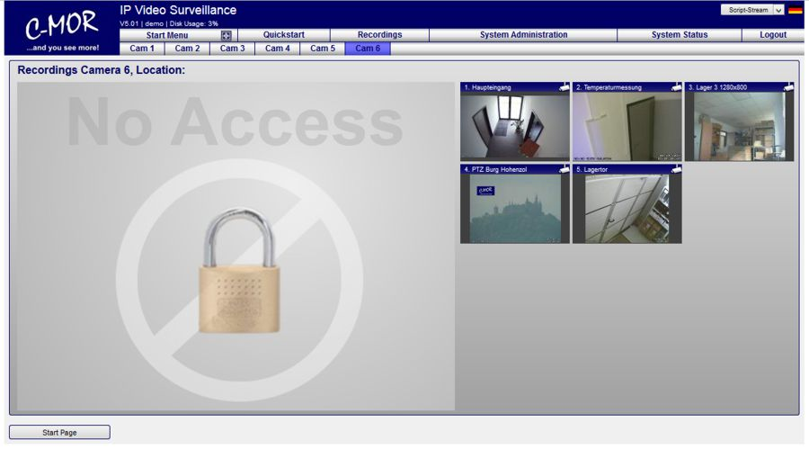 video surveillance password protection